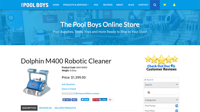 The Pool Boys online store screenshot