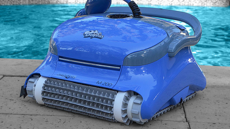 dolphin m200 robot pool cleaner sitting poolside