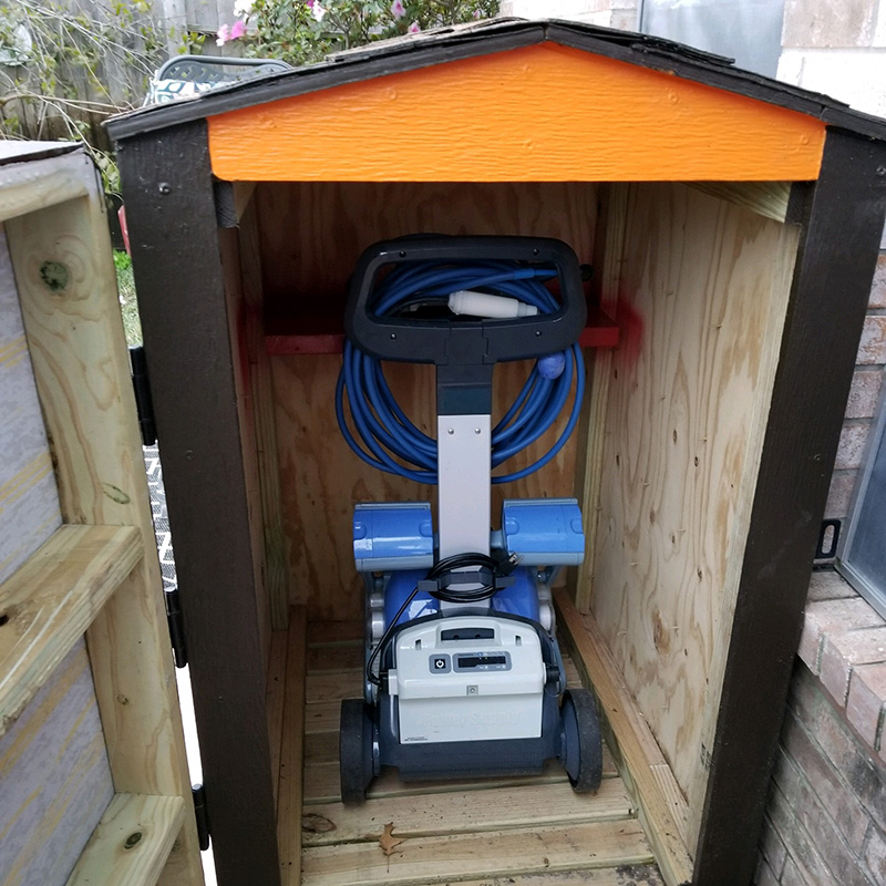 Dolphin shed built by a customer to protect the Dolphin Robotic Cleaner from outside elements when not in use