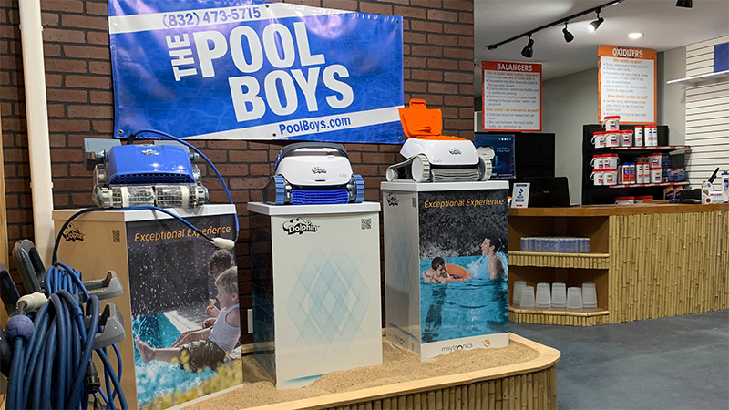 The Pool Boys Maytronics Dolphin Robotic Cleaner store display