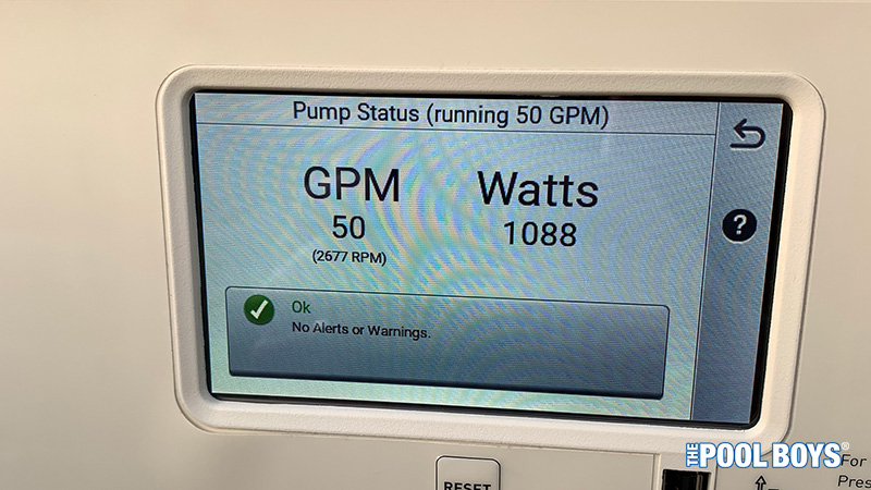 Pentair VS Pump settings screen showing 50 GPM water flow