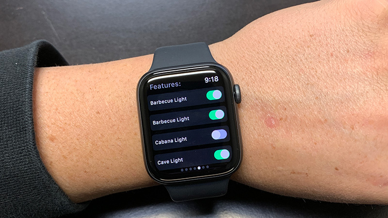 Apple Watch with Pentair ScreenLogic software showing