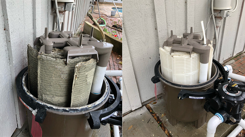 before and after image of a filter clean service from The Pool Boys